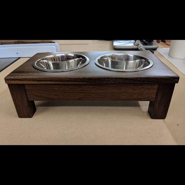 Small Texas Black Walnut Raised Dog Bowls - Small