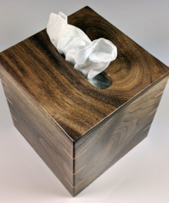 Texas Black Walnut with Red Leaf Maple Spines - Tissue Box Cover - Small Square