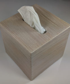Small Upright Cube Tissue Kleenex Box Holder - Stained White Flatsawn Oak