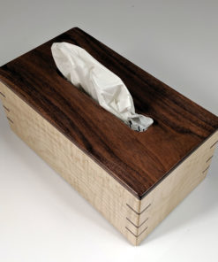 Walnut Top - Tiger Maple Sides - Walnut Splines - Regular Rectangle Tissue Box