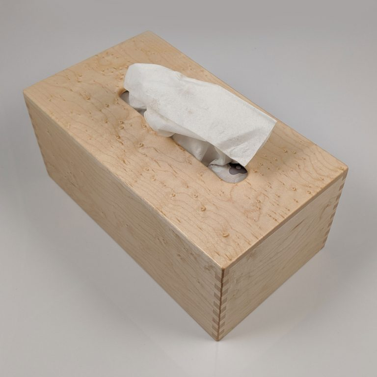 Birdseye Maple Tissue Box - Regular - Box Jointed Corners