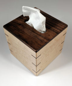 Tissue Box - Small - Walnut Top - Maple Sides - Walnut Splines