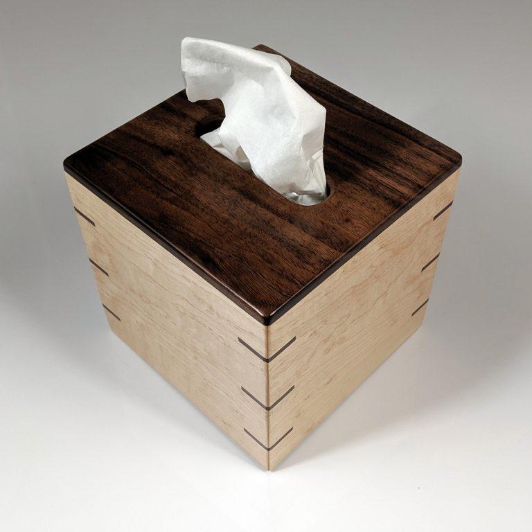 Tissue Box - Small - Walnut Top - Maple Sides - Walnut Splines