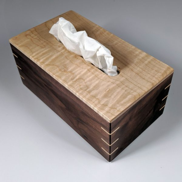 Tissue Box - Regular - Tiger Maple Top - Walnut Sides - Maple Splines