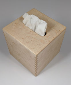 Limited – Solid Birdseye Maple – Handmade Tissue / Kleenex Box Cover Holder – Small Cube Style – Box Jointed Sides