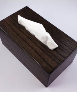 Tissue Box - Solid Oak - Ebony Stained - Rectangle Style - Box Jointed Sides