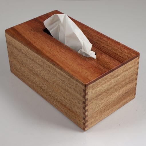 Tissue Box - Rectangular - African Mahogany - Box Jointed Sides