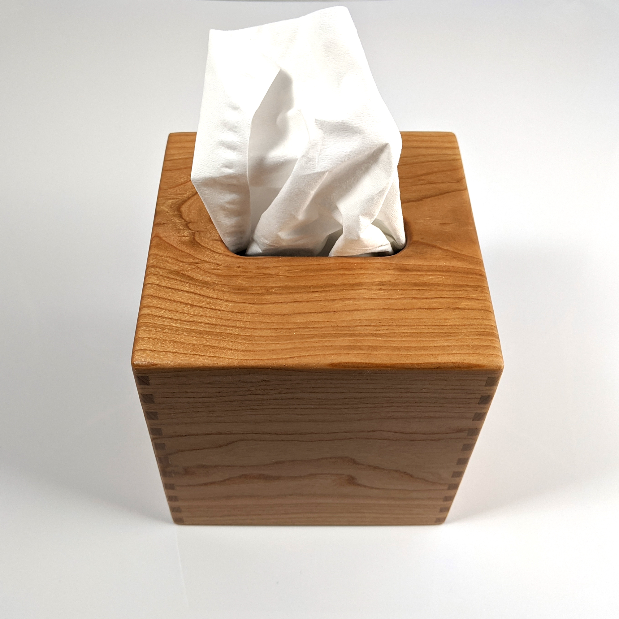 Solid Cherry Handmade Tissue Kleenex Box Cover Holder Square Box Jointed Sides Oak Knoll Woodworks