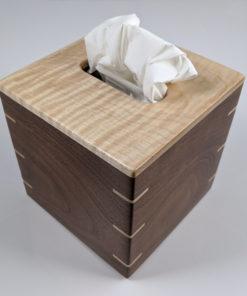 Solid Pennsylvania Tiger Maple W/ Texas Black Walnut Sides / Maple Splines - Handmade Tissue / Kleenex Box Cover Holder - Boutique Square Cube Style
